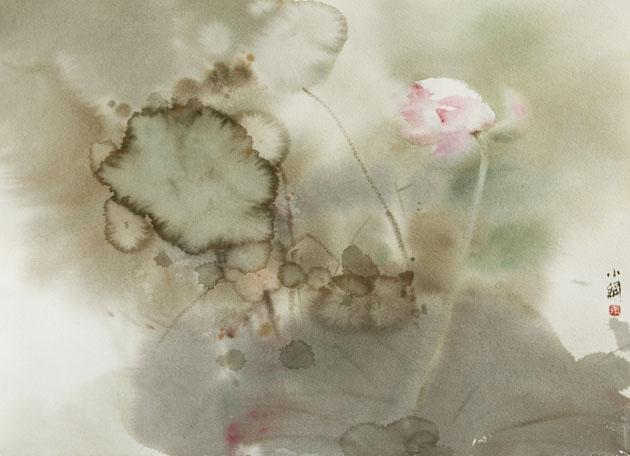 张小纲教授用水彩画赋予了荷花很强的东方魅力